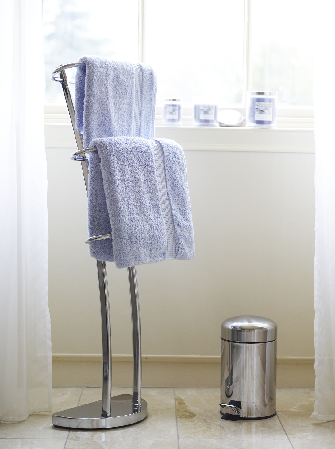 Egyptian cotton towels, Stainless Steel Bathroom Bin, Chrome Bathroom Towel Rail
