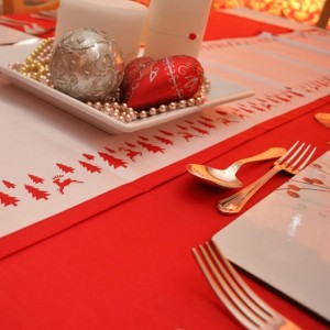 Red Christmas Table Linen