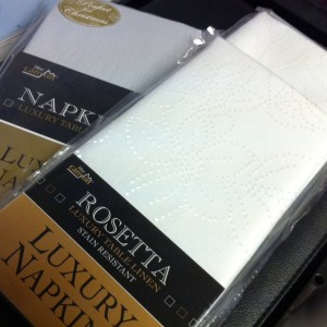 Silver and White Napkins