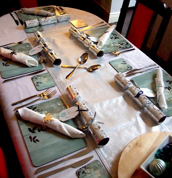 Full Table Set for Christmas Day Dinner