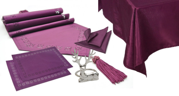 Purple Table Linen and Christmas Accessories