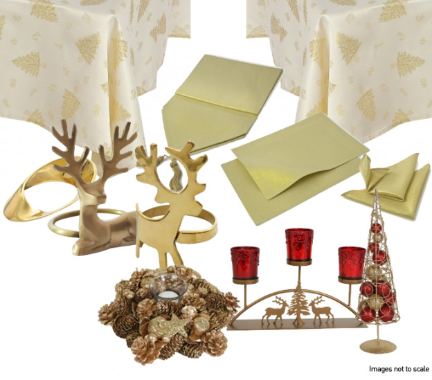 Gold Christmas Shimmer Table Setting 1