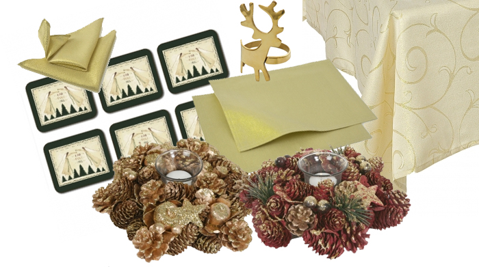 Golden Christmas Angle Table Linens