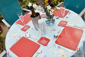 Blue Floral Plastic Wipe Clean Tablecloth