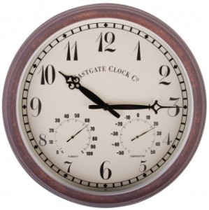 Outdoor Brown Wall Clock with Thermometer & Humidity Dials