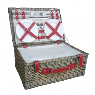 Red & White Willow Picnic Hamper for 4