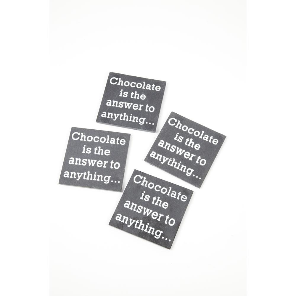 """""""Chocolate is the answer to anything…"""" coasters"""