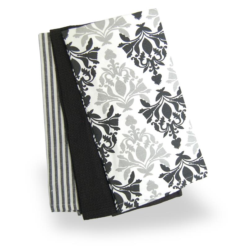 Damask Black and White Tea Towel Set