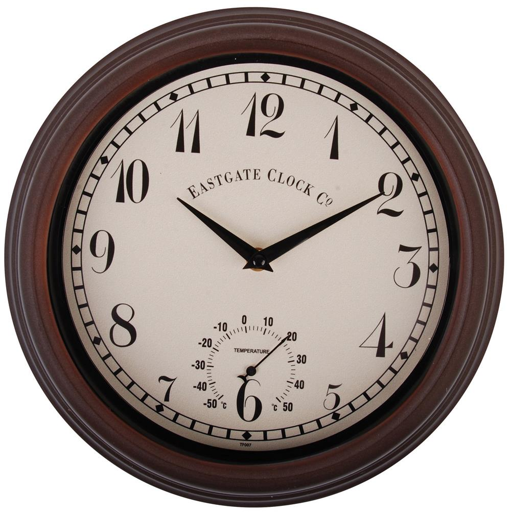 outdoor-brown-wall-clock-with-thermometer-dial