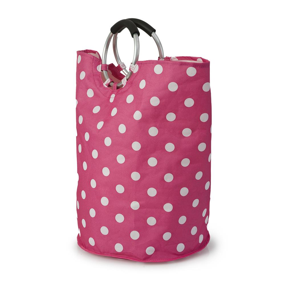 round-pink-polka-dot-laundry-bag-with-silver-handles
