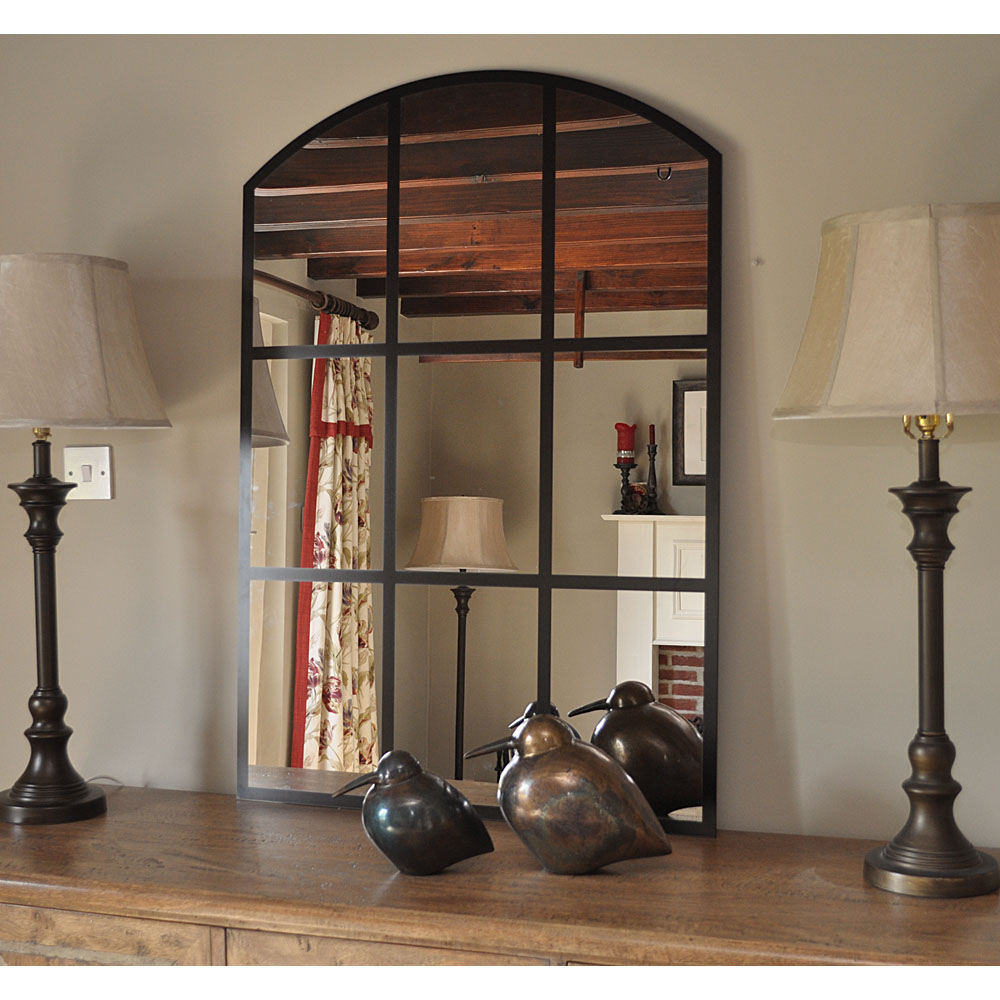 Large Black Grid Arched Mirror