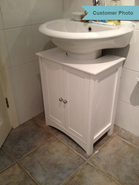 White under sink shaker style bathroom cabinet roman at home - Under sink bathroom storage cabinet ...