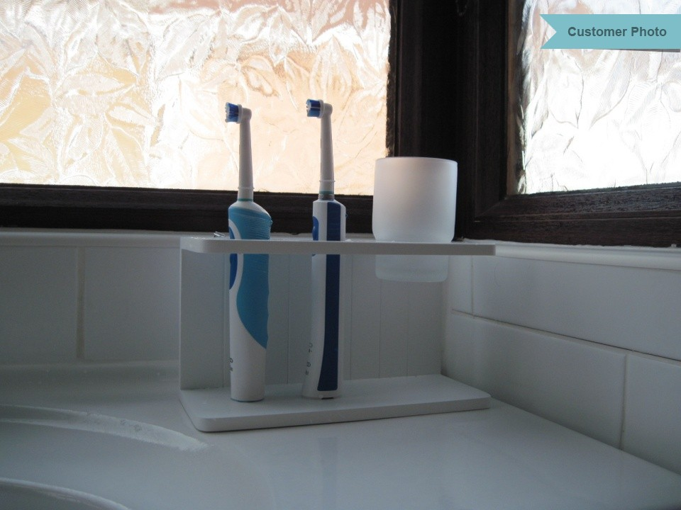 Attrayant ... White Wooden Electric Toothbrush Holder