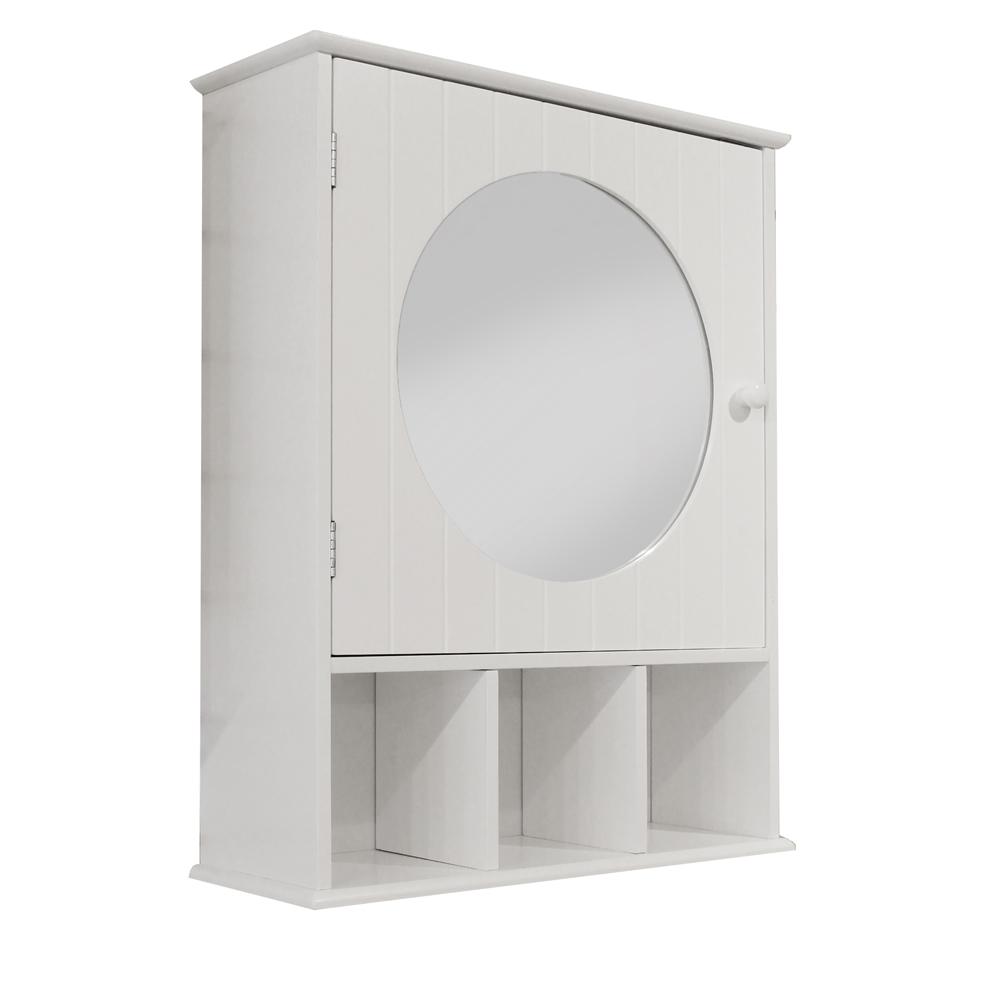 White Shaker Style Round Mirror Door Cabinet