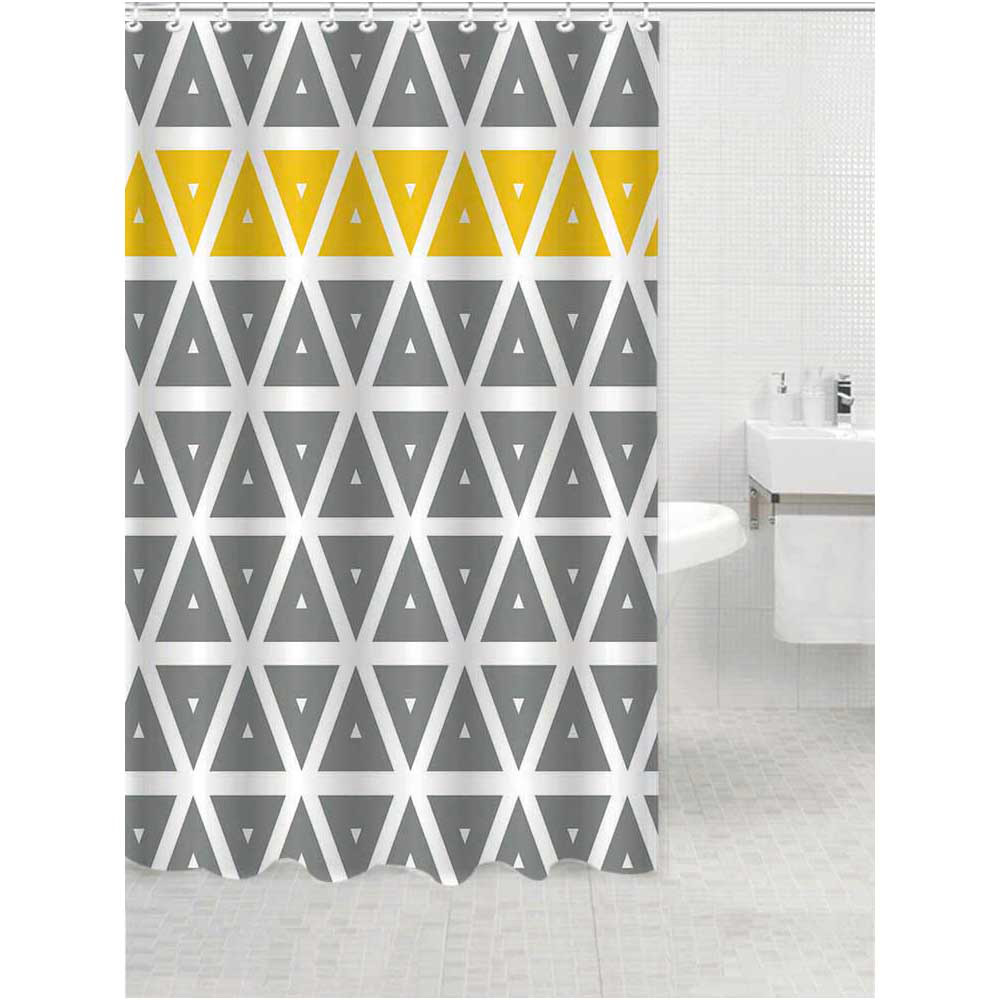 4 Piece Geometric Grey and Yellow Bathroom Accessories Set