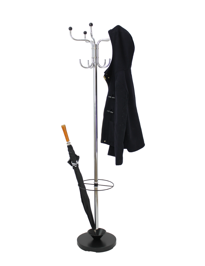 Black and Chrome Coat and Umbrella Stand