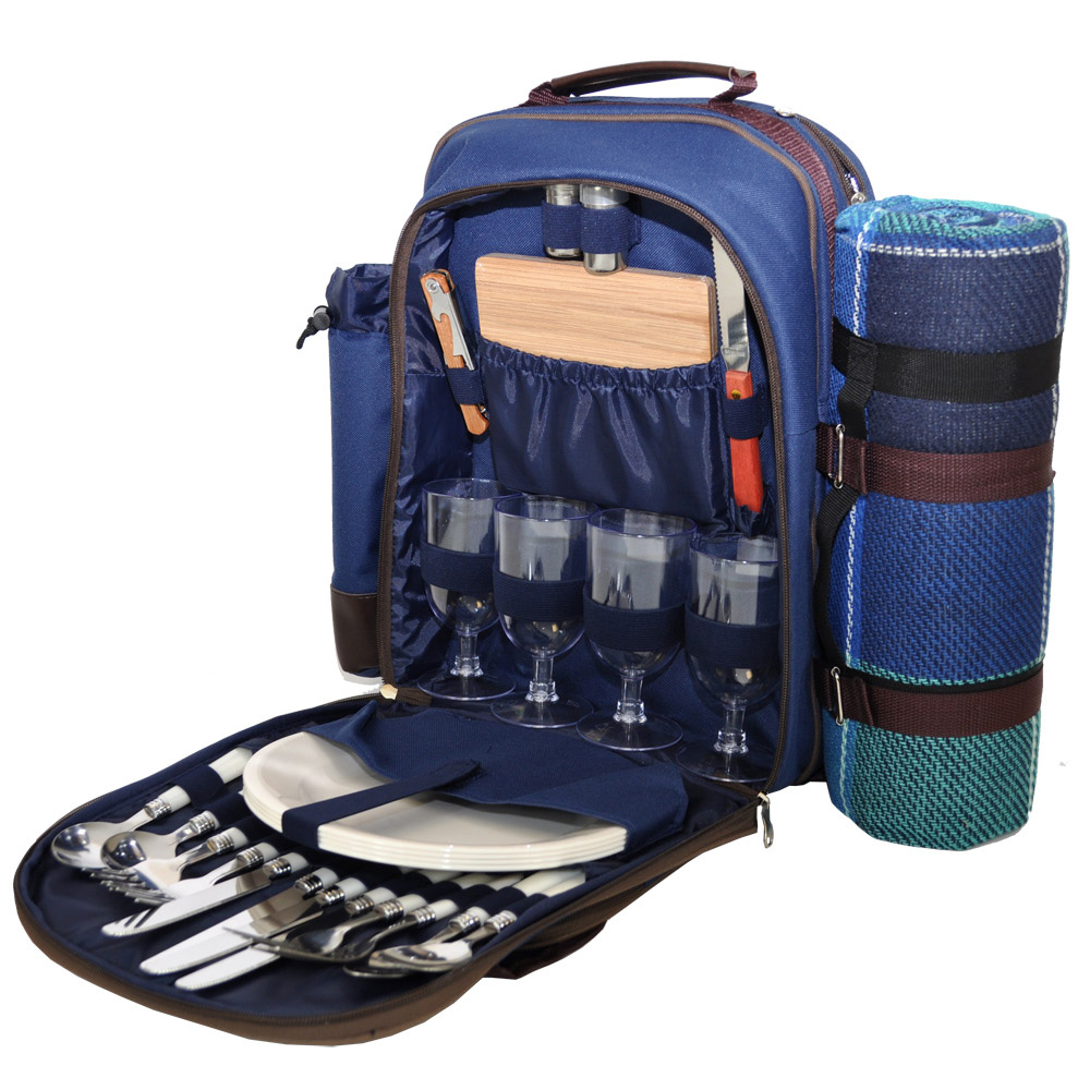 Blue 4 Person Picnic Hamper Backpack