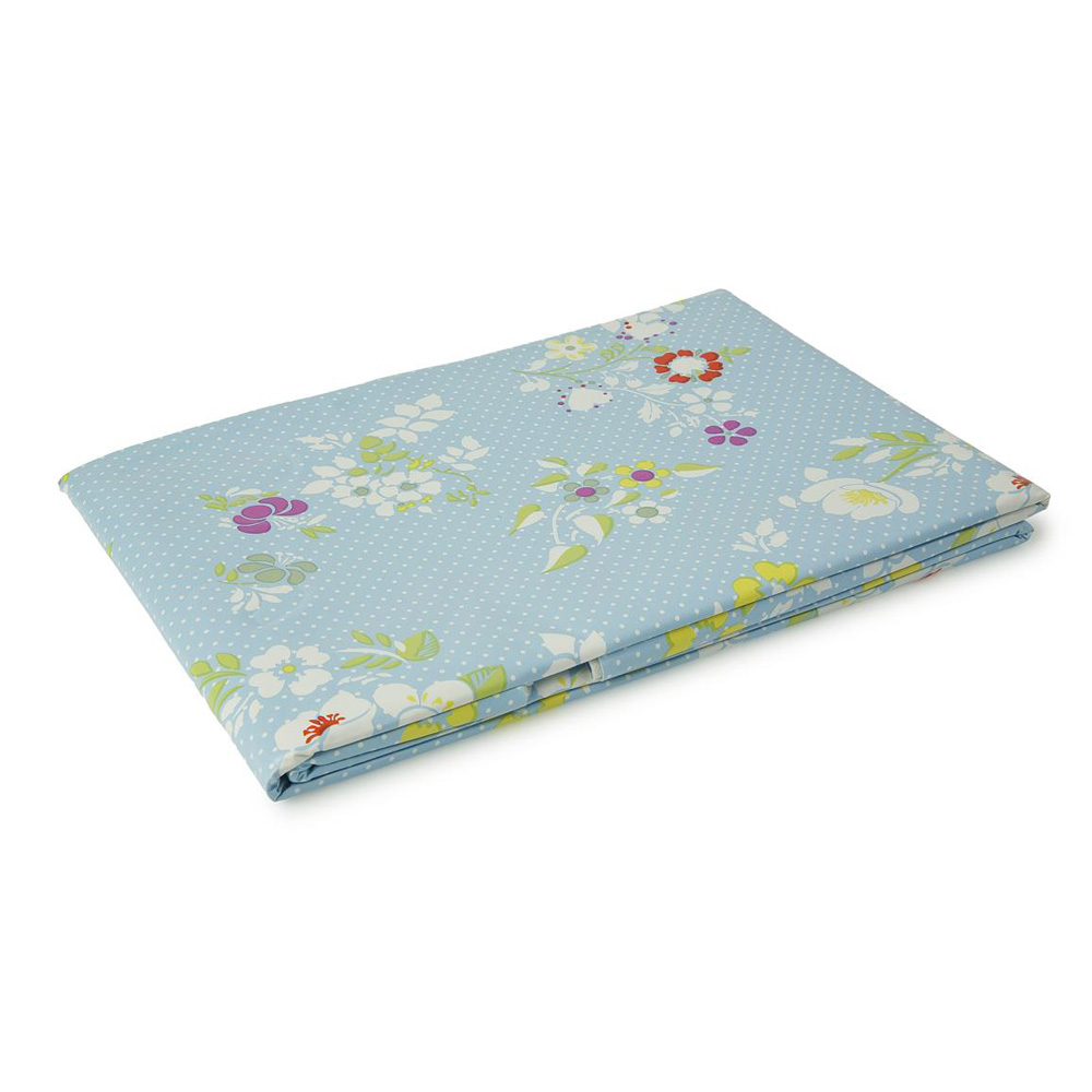 Blue Floral Plastic Wipe Clean Tablecloth Small: 137 x 137cm