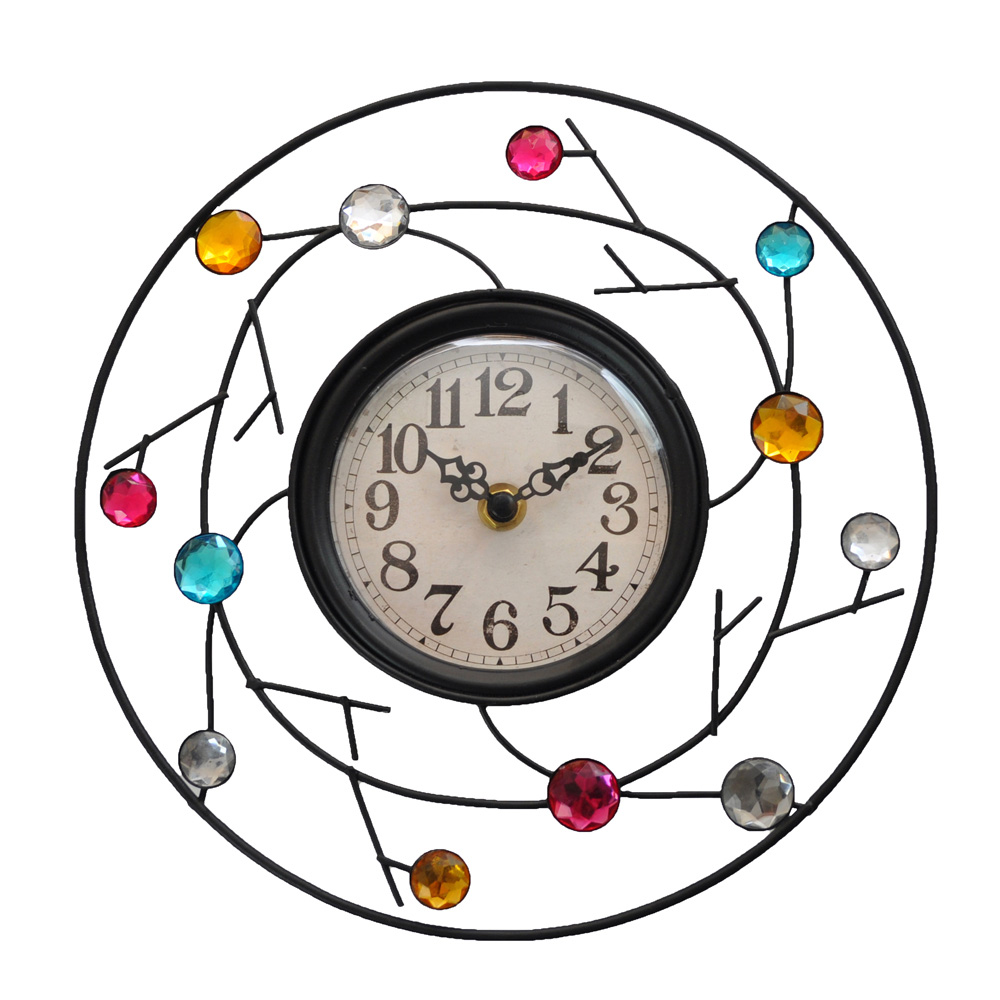 Colourful Jewelled Modern Wall Clock Roman At Home