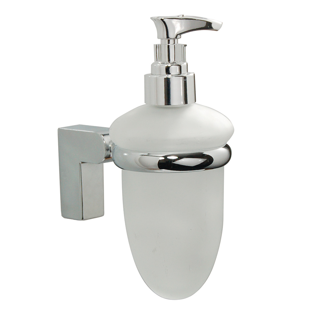 Contemporary Chrome and Glass Soap Dispenser