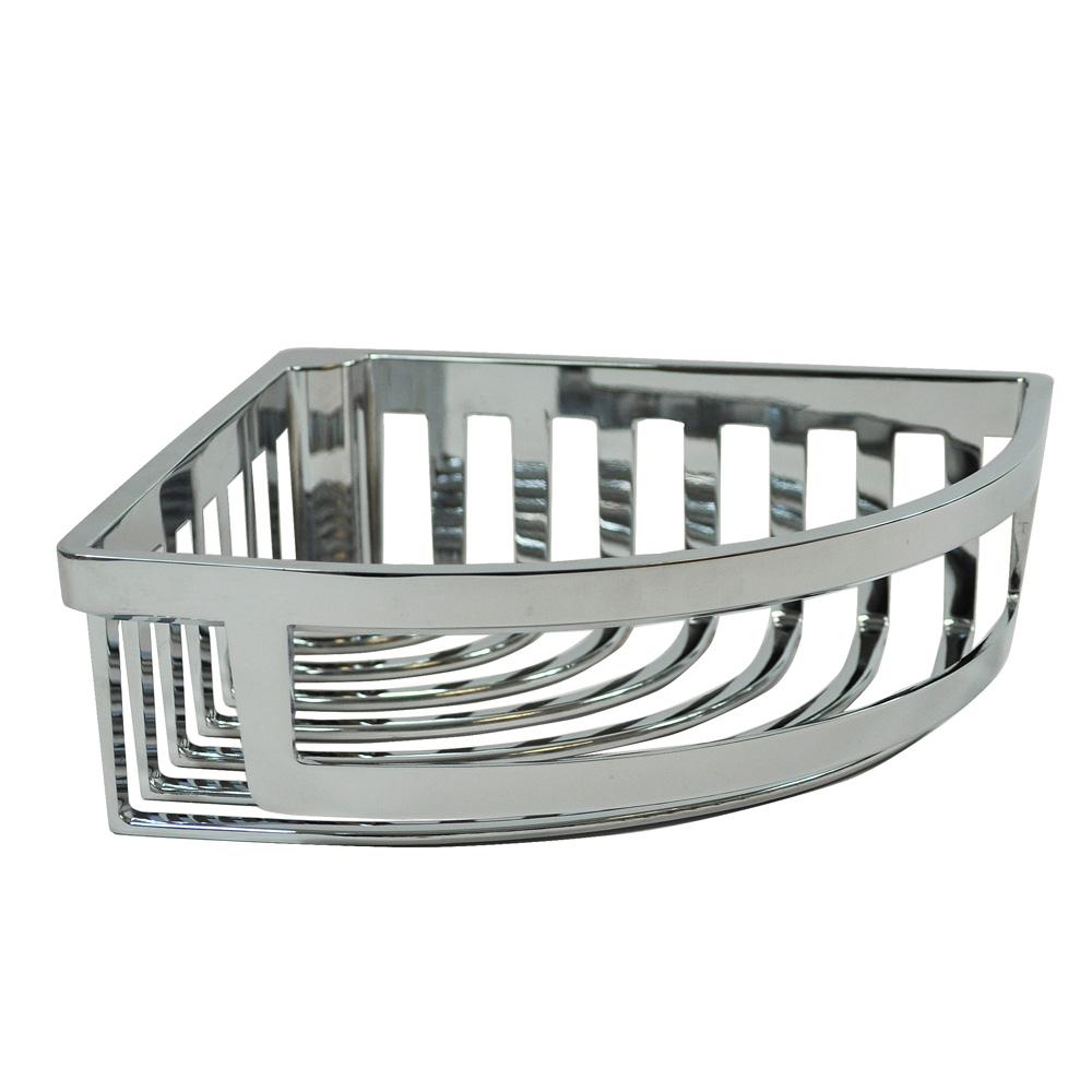 Contemporary chrome corner shower basket roman at home for Bathroom accessories baskets
