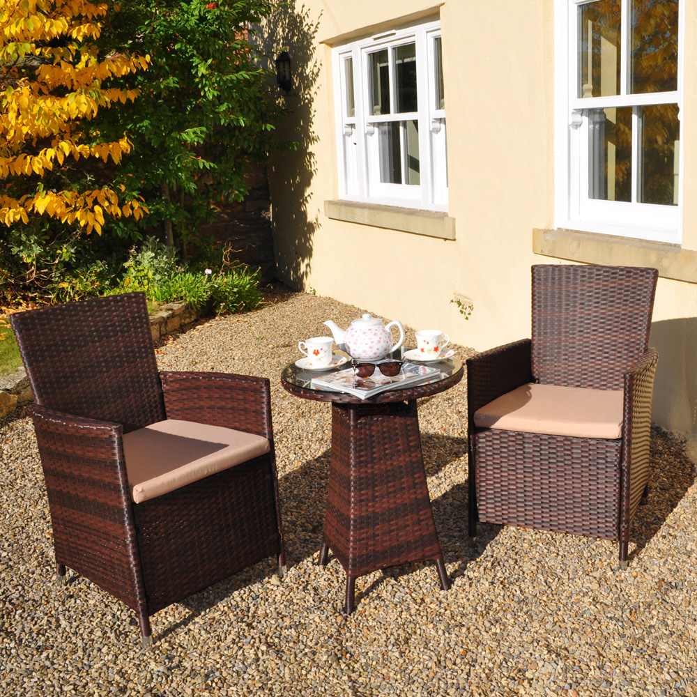 Contemporary Rattan Bistro 2 Seater Garden Patio Set