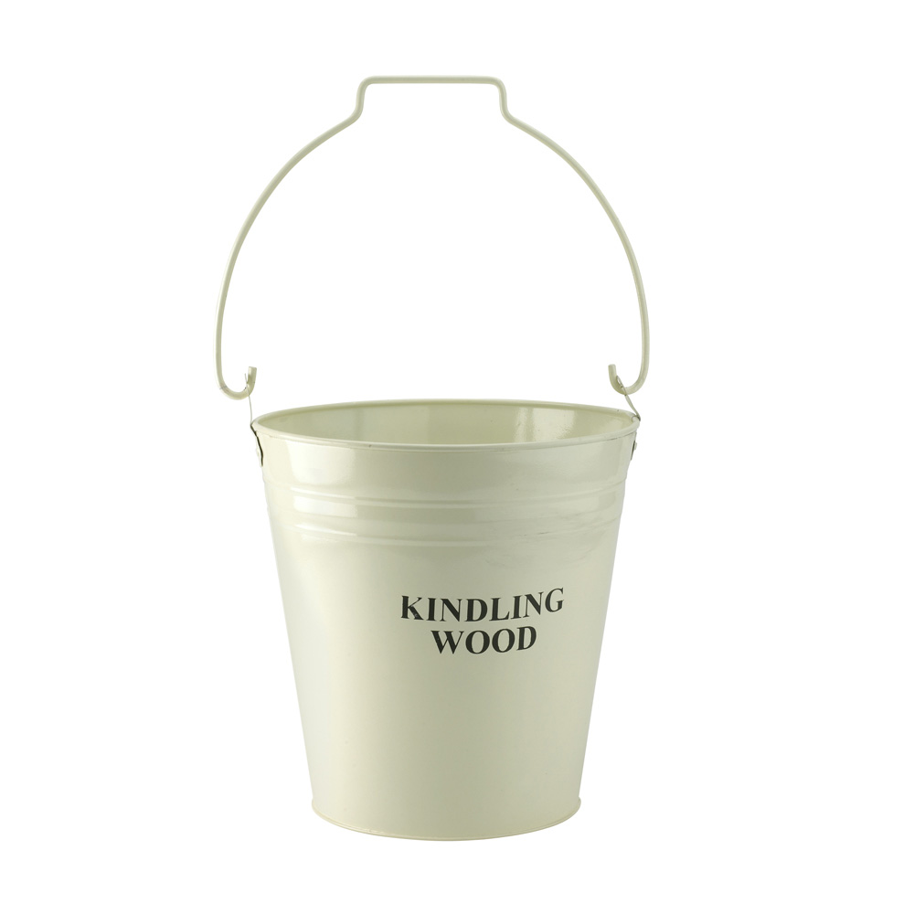 Cream Kindling Wood Fireplace Bucket