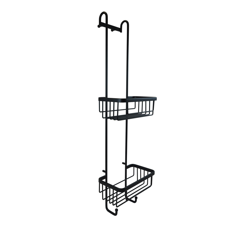 Double Hanging Shower Basket with Hooks in matt black