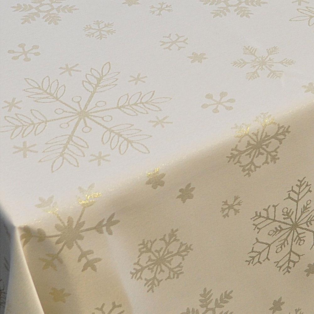 Xmas Table Linen Part - 39: Gold Snowflake Table Linen Set For 4