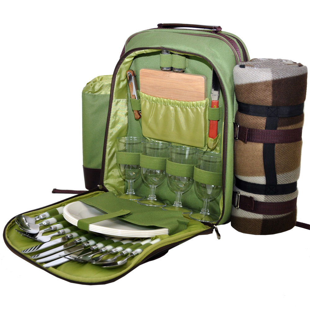 Green 4 Person Picnic Hamper Backpack
