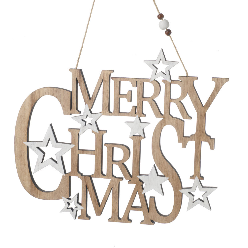 Hanging Wooden Merry Christmas Sign