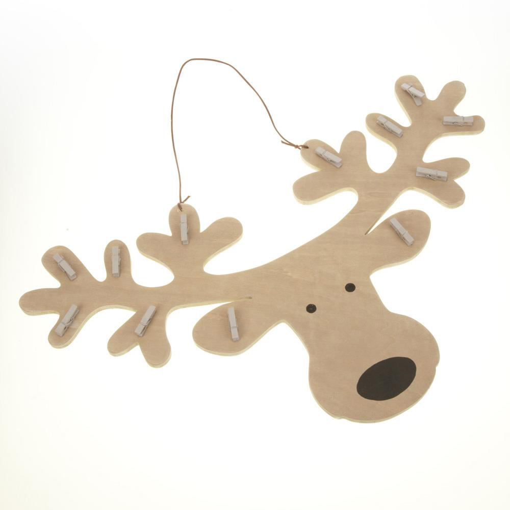Hanging Wooden Reindeer Head with Pegs Christmas Decoration