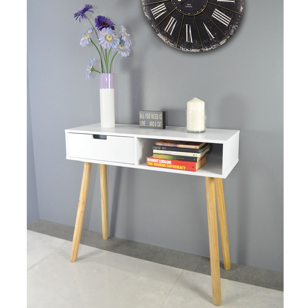 One Drawer Long Table White and Natural