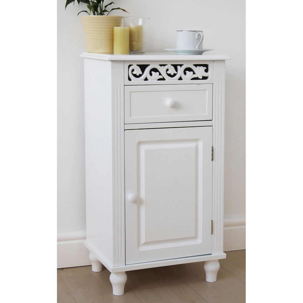 Provence Fret Style White Drawer Bedside Table
