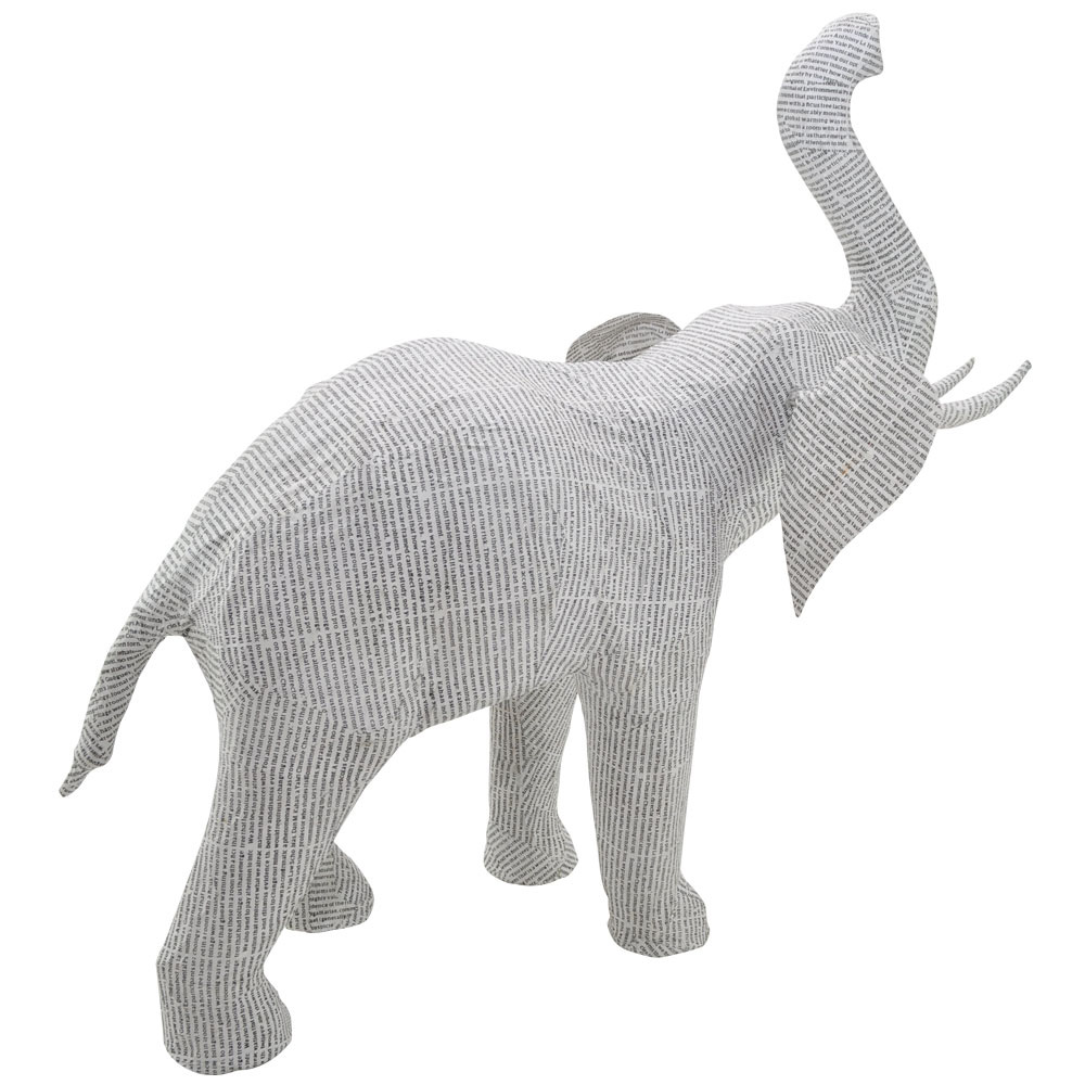 Recycled Large Newsprint Elephant Home Ornament