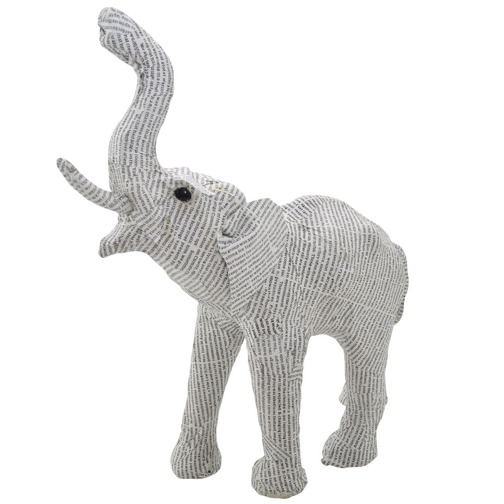 Recycled Medium Newsprint Elephant Home Ornament