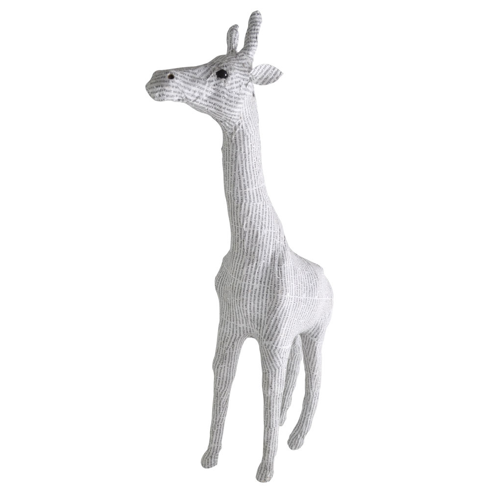 Recycled Medium Newsprint Giraffe Home Ornament