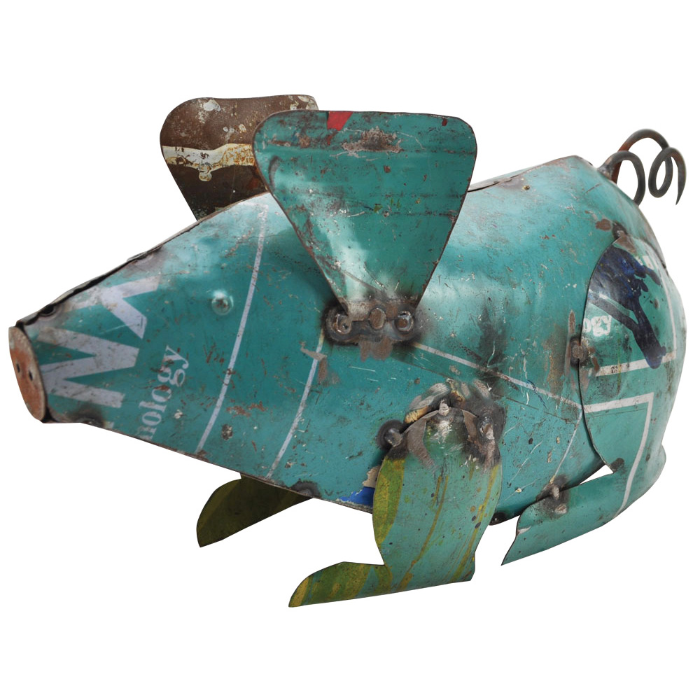 Recycled Metal Small Pig Garden Feature