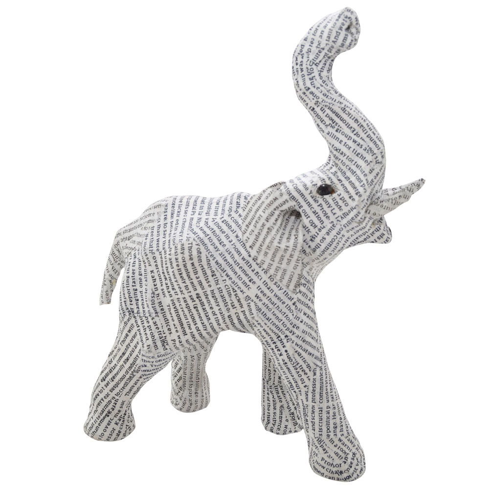 Recycled Small Newsprint Elephant Home Ornament