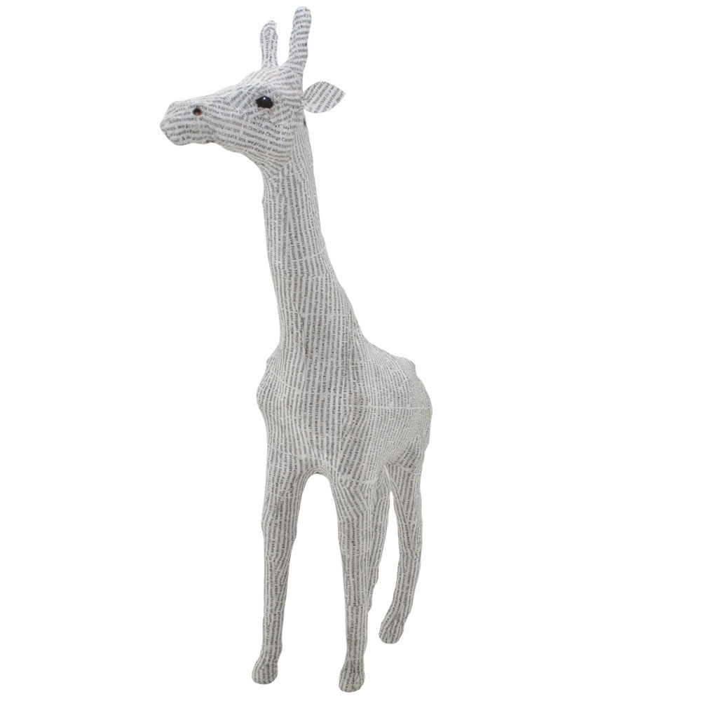 Recycled Small Newsprint Giraffe Home Ornament