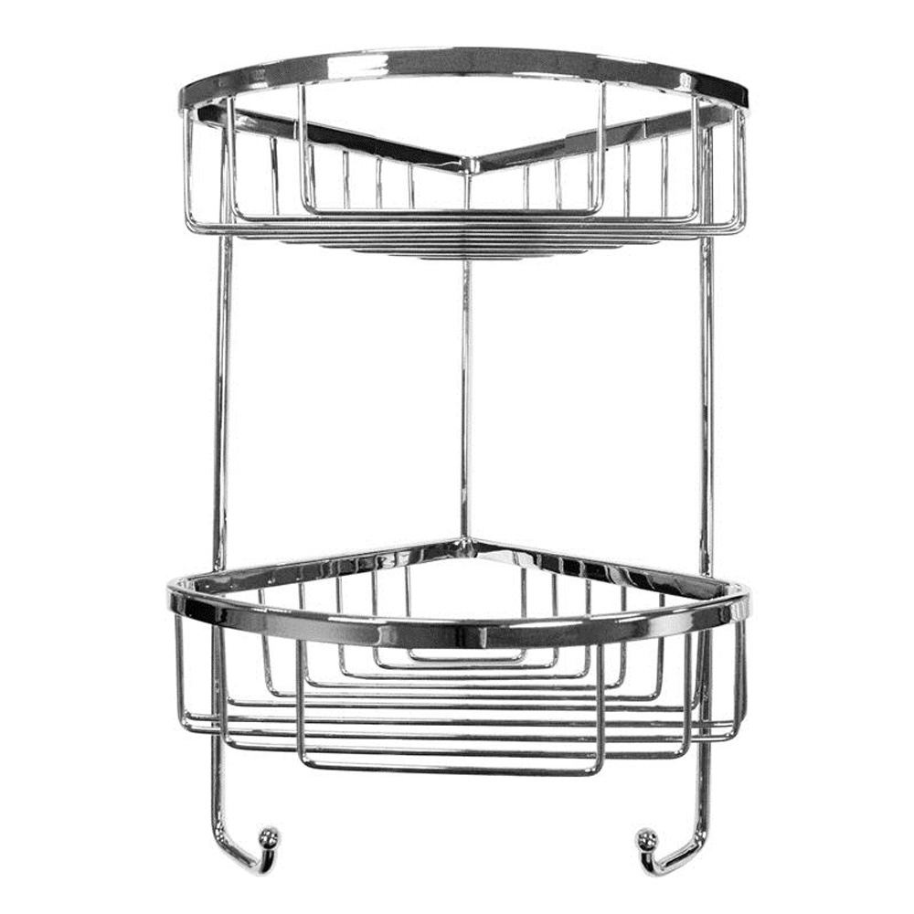 Roman Double Corner Chrome Shower Basket | Roman At Home