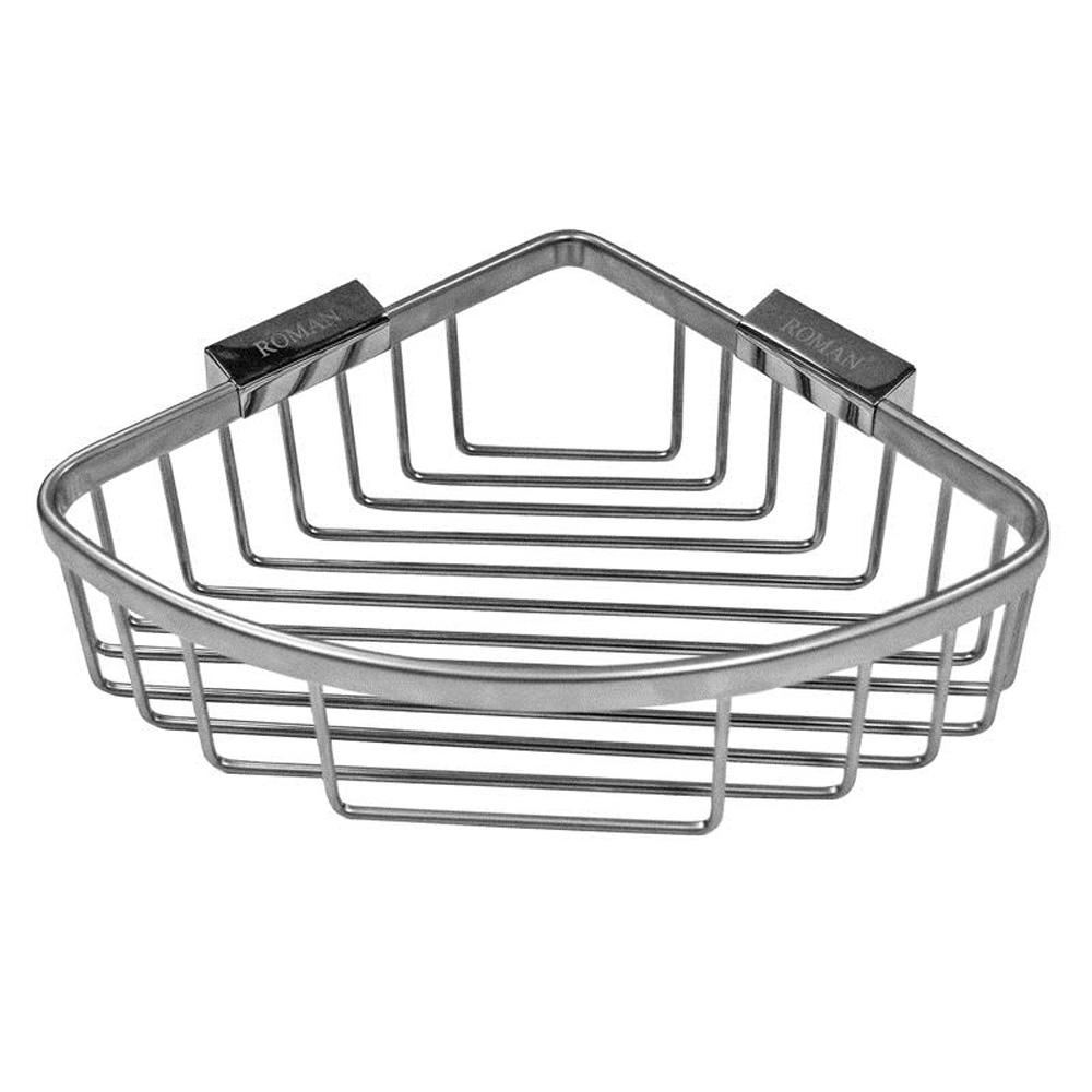 Roman Large Curved Chrome Corner Shower Basket | Roman At Home
