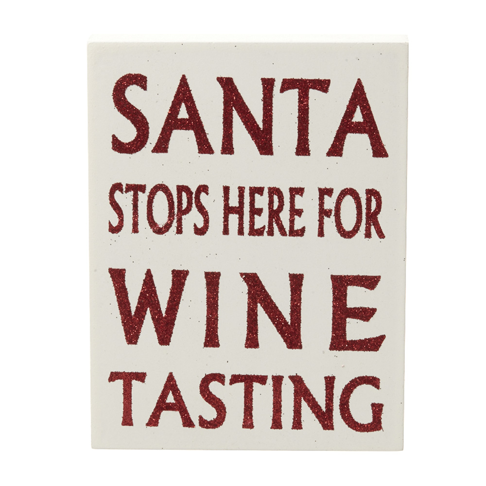 Santa Stops Here for Wine Tasting Sign
