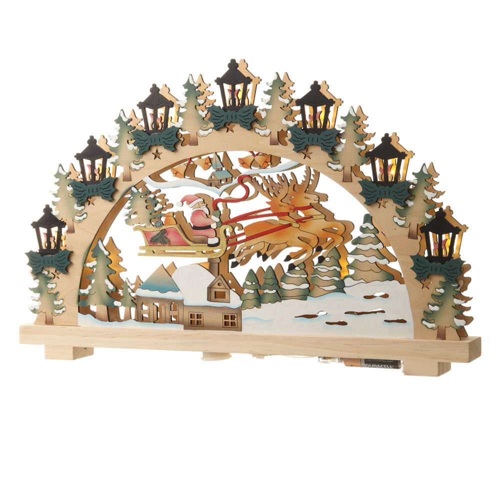 Santas Sleigh Wooden Scene Decoration