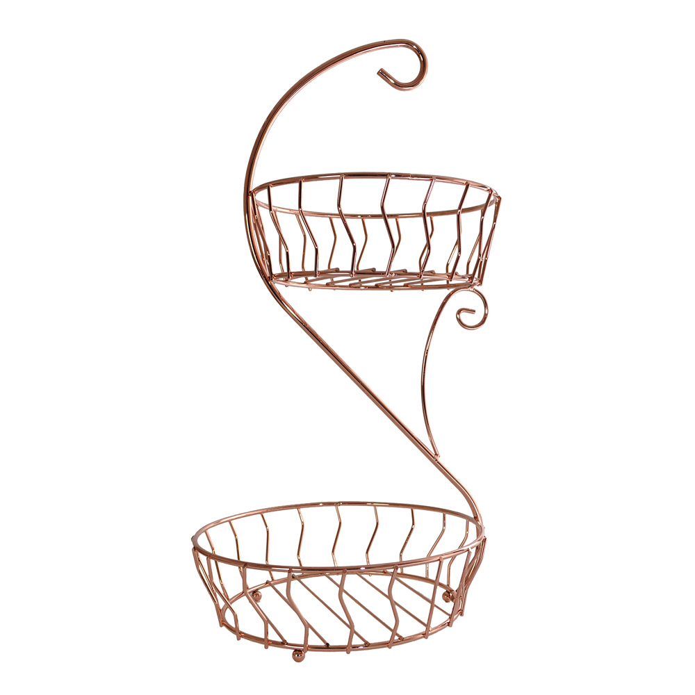 Two Tier Copper Fruit Basket