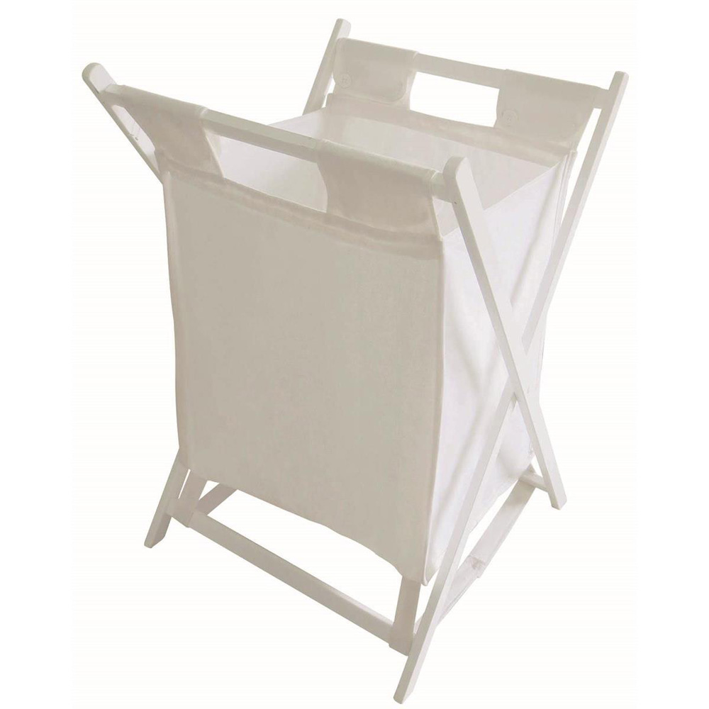 White  Folding Wooden Laundry Basket