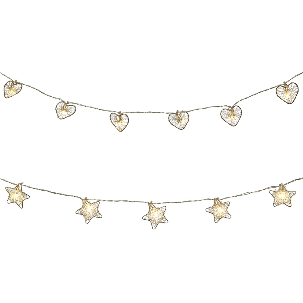 Wire Heart and Star Light Up Garlands