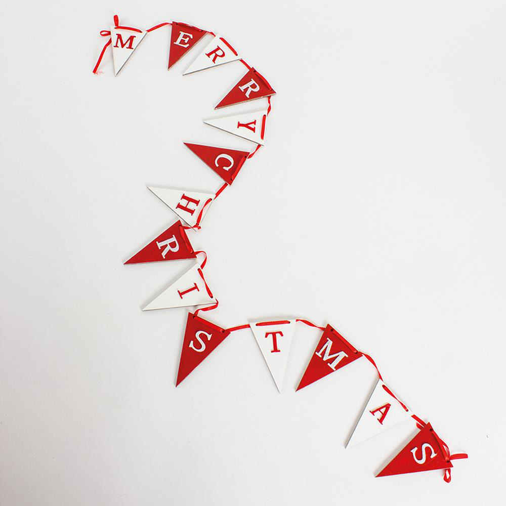 Wooden Red & White Christmas Flag Garland