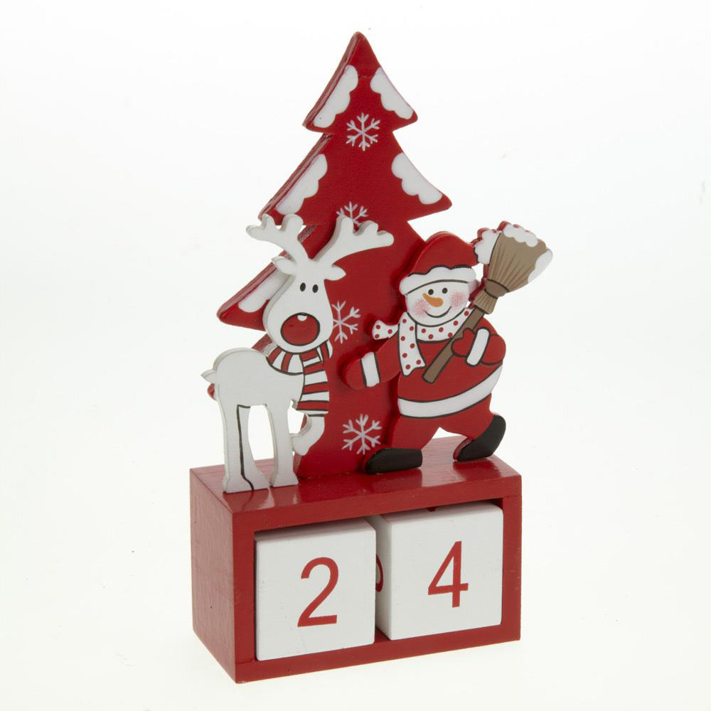 Wooden Santa and Reindeer Advent Calendar