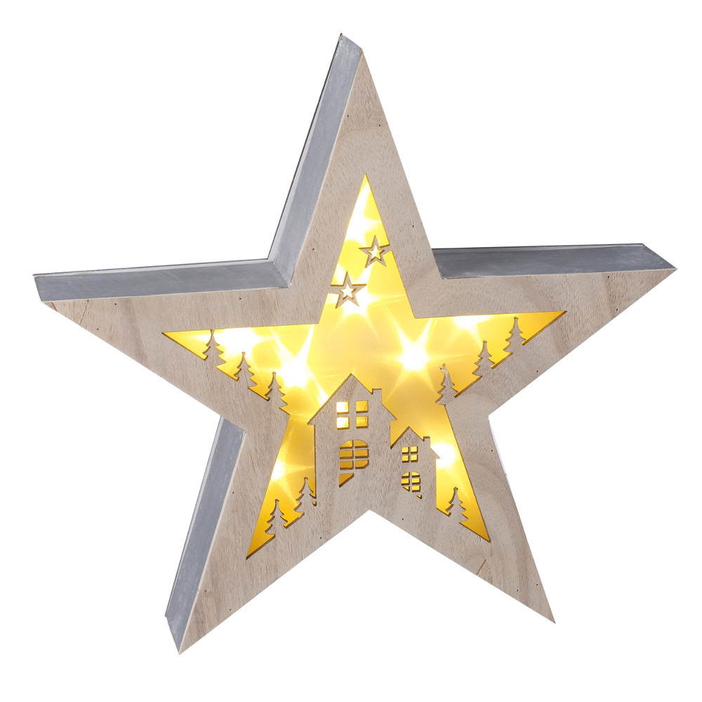 Wooden Star Deco LED